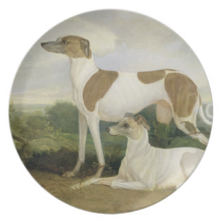Two Greyhounds in a Landscape (oil on canvas) Plate