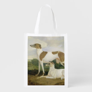 Two Greyhounds in a Landscape (oil on canvas) Grocery Bags