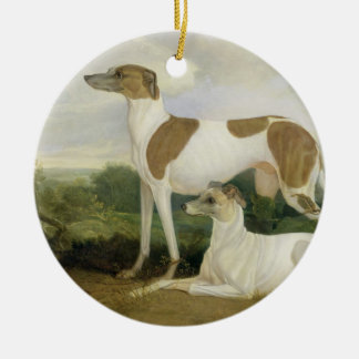 Two Greyhounds in a Landscape (oil on canvas) Round Ceramic Decoration