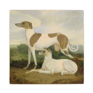 Two Greyhounds in a Landscape (oil on canvas) Wood Coaster