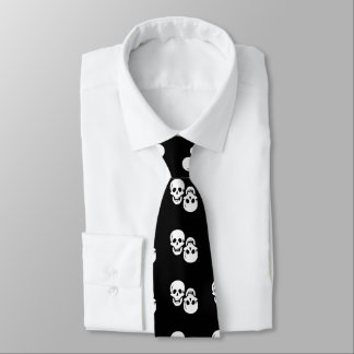 Two Grinning Skulls Pirate Tie