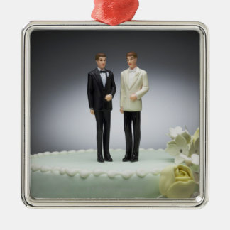 Two groom figurines on top of wedding cake christmas ornament