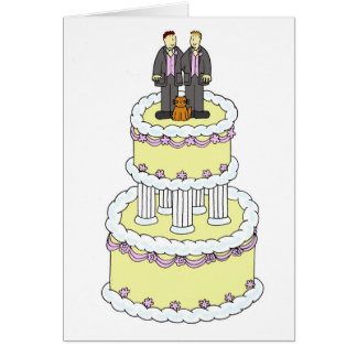 Two grooms and a cat civil partnership. greeting card