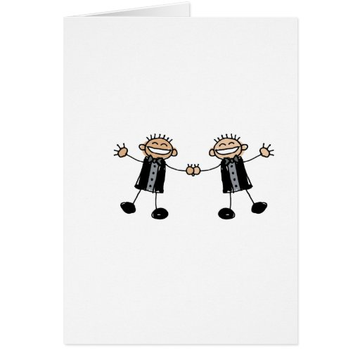 Two Grooms Dancing Happy Greeting Card