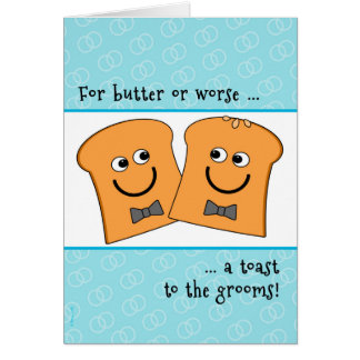 Two Grooms Gay Wedding Congratulations Funny Toast Card