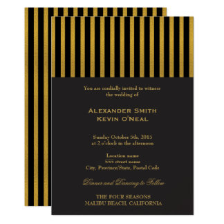 Two Grooms-Gay Wedding Gold  Invitation