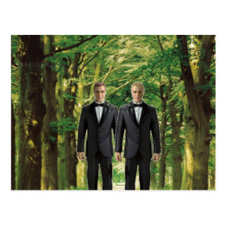 Two Grooms in the Forest Postcard