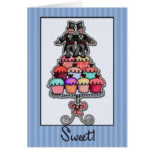 Two Grooms on Cupcake Stack Cards