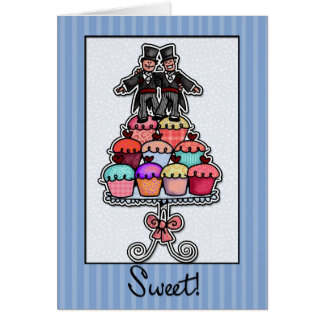 Two Grooms on Cupcake Stack Greeting Card