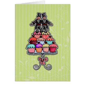 Two Grooms on Cupcakes Card