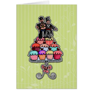 Two Grooms on Cupcakes (Leather Daddy) Greeting Card