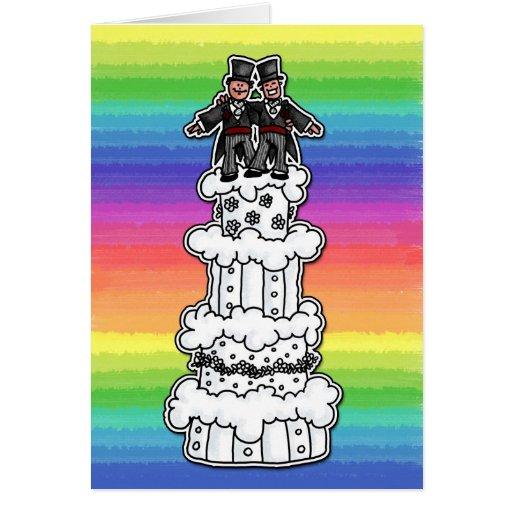 Two Grooms on Rainbow Wedding Cake Greeting Card