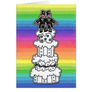 Two Grooms on Rainbow Wedding Cake Greeting Card