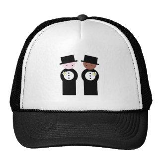 Two grooms one caucasian trucker hats