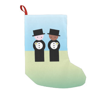 Two grooms, one caucasian, one coloured small christmas stocking