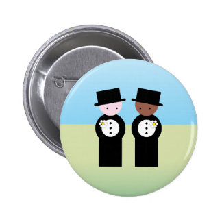 Two grooms one caucasian pinback button