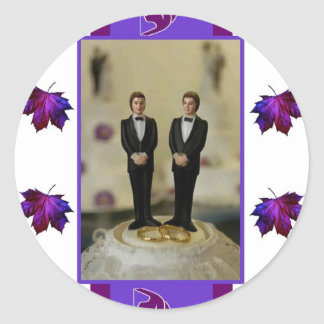 Two Grooms, Purple Theme Round Sticker