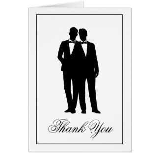 Two Grooms Silhouettes Thank You Note Cards