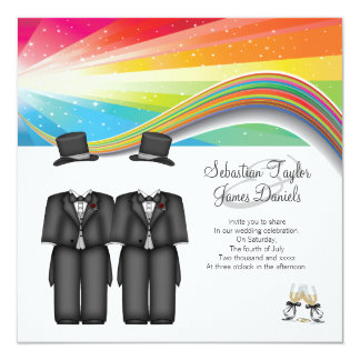 Two Grooms Wedding 13 Cm X 13 Cm Square Invitation Card