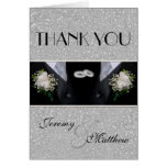 Two Grooms Wedding Tuxes Thank You Note Card