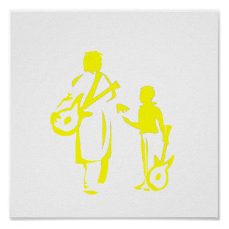 two guitar players yellow.png print