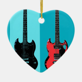 Two Guitars Ceramic Heart Decoration