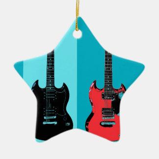 Two Guitars Ceramic Star Decoration