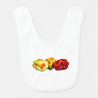 two habanero yellow one red pepper cutout graphic bib