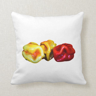 two habanero yellow one red pepper cutout graphic throw cushions