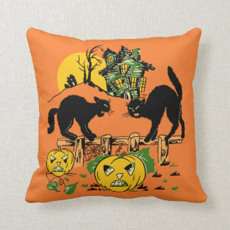 Two Halloween Black Cats and Haunted House Cushion