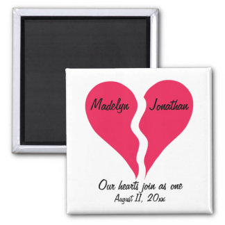 Two Halves Hearts Join as One Name Personalized Magnets