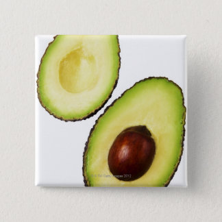 Two halves of an an avocado, on white 15 cm square badge
