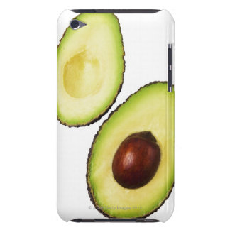 Two halves of an an avocado, on white barely there iPod cover