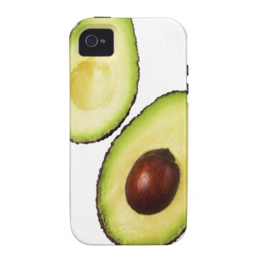 Two halves of an an avocado, on white Case-Mate iPhone 4 case