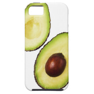 Two halves of an an avocado, on white case for the iPhone 5