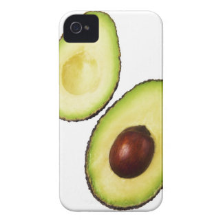 Two halves of an an avocado, on white iPhone 4 Case-Mate case