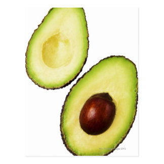 Two halves of an an avocado, on white postcard
