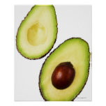 Two halves of an an avocado, on white posters