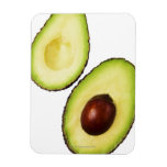 Two halves of an an avocado, on white rectangular magnets