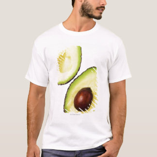 Two halves of an an avocado, on white T-Shirt