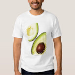 Two halves of an an avocado, on white tee shirts