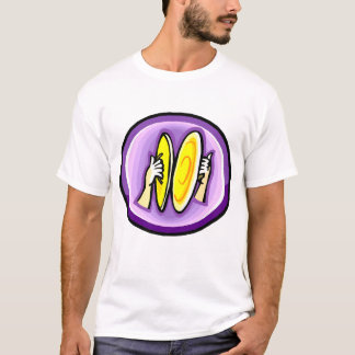 Two hands playing crash cymbals in purple circle T-Shirt