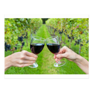 Two hands toasting with wine glasses in vineyard postcard