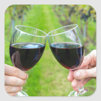Two hands toasting with wine glasses in vineyard square sticker