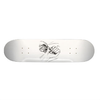 Two Hands with Marbles Pouring Pencil Sketch 21.6 Cm Skateboard Deck