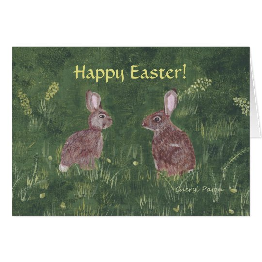 Two Happy Bunny Rabbits Easter Greeting Cards