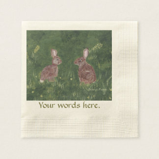 Two happy bunny rabbits Your text napkins Disposable Serviette