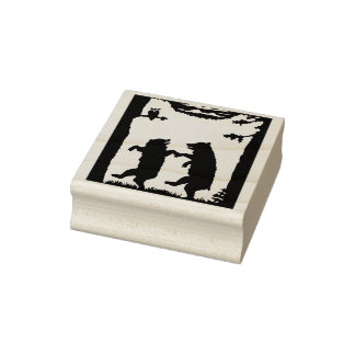 Two Happy Dancing Bears Under Trees Grass Owl Rubber Stamp