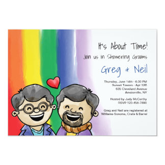 Two Happy Guys Gay Shower Invitation