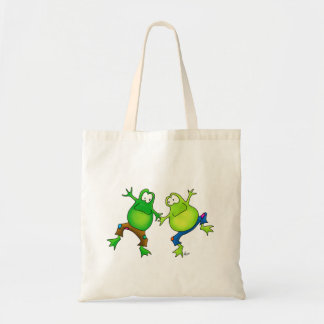 Two Happy Jumping Frog Buddies Canvas Bags
